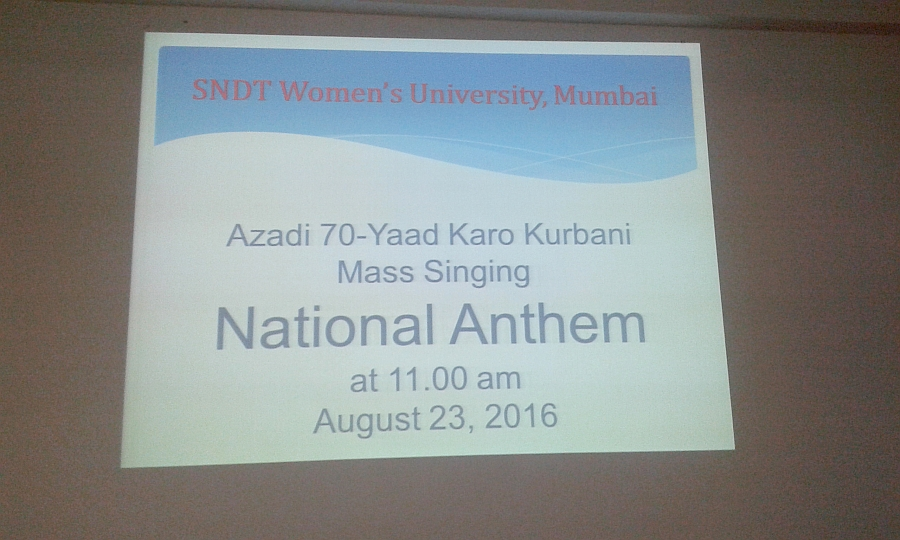 Mass Singing National Anthem 23-8-2016