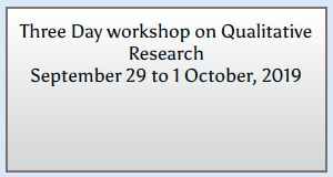 Three Day workshop on Qualitative Research