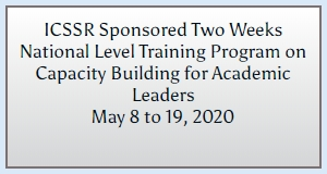 ICSSR Sponsored Two Weeks National Level Training Program on Capacity Building for Academic Leaders
